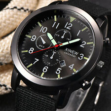Men Military Army Quartz Watch Black Date Sport Stainless steel Wrist Watch ^