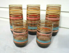 5 Vintage Drinking Glasses with Colored Rings Around