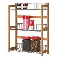 3 Shelf Bamboo Wood Kitchen Spice Rack Metal Storage Unit for Fruit Vegetables