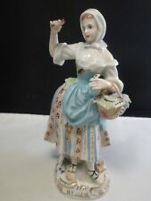 Carl Thieme Dresden China Figurine Young GIRL  WOMAN   with flowers
