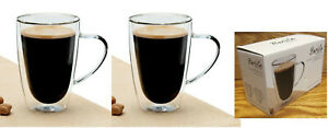 BARISTA Double Wall AMERICANO COFFEE Mug Set of 2 Tea Latte 12 oz 350 ml New Box