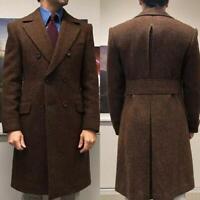 Vintage Brown Double Breasted Men Herringbone Long Overcoat Tweed Business Slim