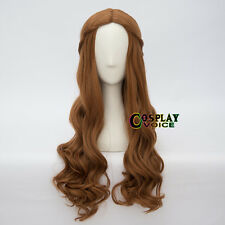 Hot Alice 65cm Long Curly Brown Women Girls Dress Party Cosplay Wig+Cap
