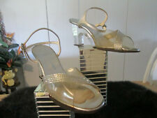 Vintage 1960'S ShoesJack Rogers Silver Leather, Lucite W/ Rhinestone Size 8 1/2