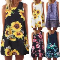 Summer Women Floral Boho Print Sleeveless Beach Vintage Casual Short Mini Dress