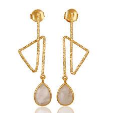 Gemstone 925 Silver Handmade Jewelry Zig Zag Designer Moonstone Earrings