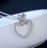 14K White Gold Finish Valentine Love Heart 1Ct Round Diamond Pendant Necklace