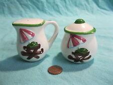 Sugar Bowl Creamer Picnic Table Salt and Pepper Shakers Ceramic             11