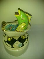 Vintage Porcelain fish Music Box With boat in the bath tub Fisherman's Dreams