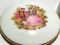 Limoges France Trinket Box FRAGONARD aristocrat Fancy Round Porcelain 11-43