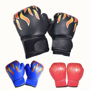 Kids Boxing Gloves Flame Pattern For Training Punching Bag Kickboxing Mitts