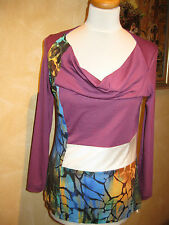 Shirt  mit Wasserfallkragen Gr. 40 - Einzelteil  Brandt Design  NEU lila-weiß