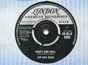 """JAN AND DEAN - HEART AND SOUL - 7"""" VINYL - LONDON LABEL + SLEEVE"""