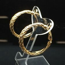 CLIP ON Twisted HOOP 18ct Gold GF Fake Piercing Shiny Thick Large Earrings 3cm