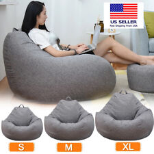 GRAY Bean Bag chair lazy lounger sofa soft cushion indoor outdoor adult kids USA
