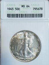 1945 50C Walking Liberty Silver Half Dollar - Graded MS64 ANACS vintage holder