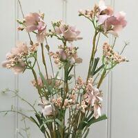 Dusky Pink Artificial Meadow Flower Spray,  Bunch of Pretty Faux Wild Flowers.