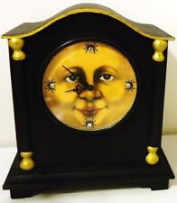 Original Hand Painted ~It's Halloween Time~ Wood CLOCK MOON FACE & GHOSTS Works