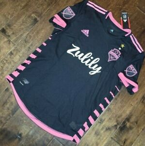 $120 ADIDAS SEATTLE SOUNDERS FC AWAY AUTHENTIC JERSEY BLACK PINK MENS LARGE NEW