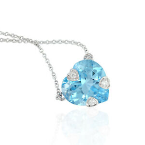 Memorial Day Gift Natural Topaz Choker Necklace 14k White Gold Jewelry
