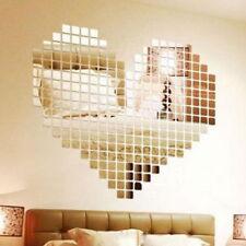 100Pcs Mirror Tile Wall Sticker 3D Decal Mosaic Room Decor Stick On Modern DIY