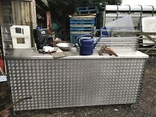 More details for custom made mobile bar table on wheels stainless steel aluminium 240 x70 x115cm