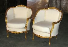 Pair Of Ornately French Gilded Bergere Chairs