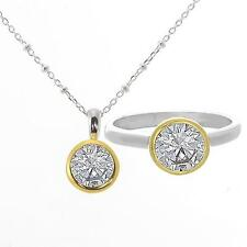"""""""Be Happy"""" 1.00ct Sterling Silver Cubic Zirconia size 5 Ring & Necklace set"""