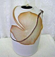 Vintage Home Decor Large Pottery Vase Leaf & Rope Design
