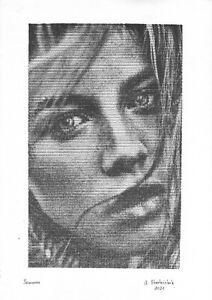 original drawing A3 2StA art modern Ink female portrait hardware technology