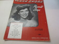 Dinah Shore Favorite Songs with words and guitar chords vintage songbook