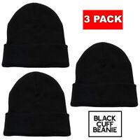 3 Pack Lot Beanie Plain Knit Ski Skull Hat Cap Cuff Winter Warm Men Women Unisex