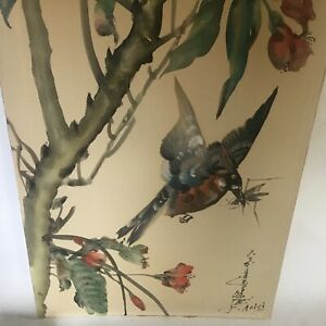 TOSHIO AOKI Antique Watercolor Painting Flowers with Bird Listed Artist Original