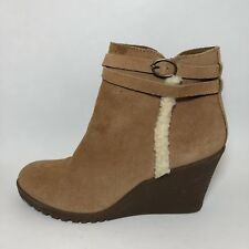 """Bjorndal Womens Boots """"Amy"""" Tan Suede Leather Ankle Size 10M Side Zip"""