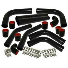 "UNIVERSAL 2.5"" ALUMINUM 8PCS TURBO INTERCOOLER PIPING PIPE KITS+CLAMP CHROME/BLK"