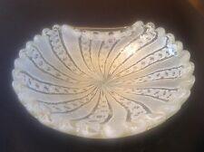 Murano Glass folded bowl w swirling Filigree ruffled edge and Aventurine