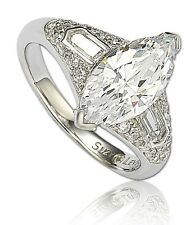 SUZY LEVIAN Marquise 3-Stone White CZ Sterling Silver Engagement Wedding Ring