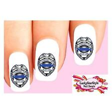 Waterslide Law Enforcement Nail Decals Set of 20- I Support the Police Blue Line
