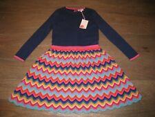 NWT Mini Boden Holiday Sweater Knit Dress. Navy Blue w/ Crocheted Rainbow. 6-7