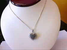 "Sterling 925 Chocolate/Vanilla Diamond Cluster Heart Locket Pendant w/ 18"" Chain"