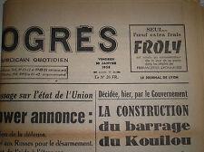 10 janvier 1958 journal de naissance LE PROGRES de Lyon