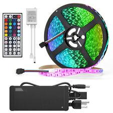 32.8ft RGB 600Leds 5050 LED Strip Light IP33+44Keys IR Remote+24V Power Supply
