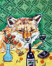 fox art Wine art gift modern folk pop 8.5x11 glossy photo print