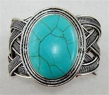 Oval Turquoise Cuff Bracelet Fashoin Bangle Southwest Navajo Style Bolf Antique