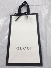 Gucci Paper Shopping Bag White With Black Border NEW