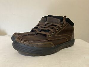 Men's Skechers Brown Leather Memory Foam Ankle Boots Shoes Trainers UK 10 EU 45