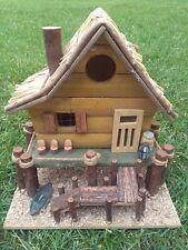 Vintage 90sWooden Fairy Beach House Handmade Art Sculpture Adorable
