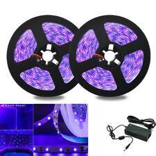 12V UV Schwarzlicht LED Stripe Streifen 5050 Netzteil Lichterkette Lila Licht 5M