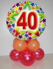 Kit centrotavola palloncini MYLAR 40 ANNI personalizzato tuo nome, base, torta