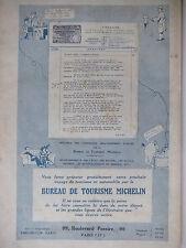 PUBLICITÉ 1920 MICHELIN - BIBENDUM - BUREAU DE TOURISME MICHELIN - ADVERTISING